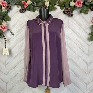 Princess Vera Wang Purple Long sleeve Blouse XL
